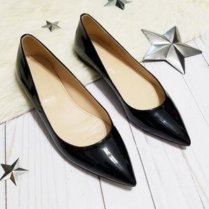 J. Crew Viv patent black flats pointed toe sz 7.5